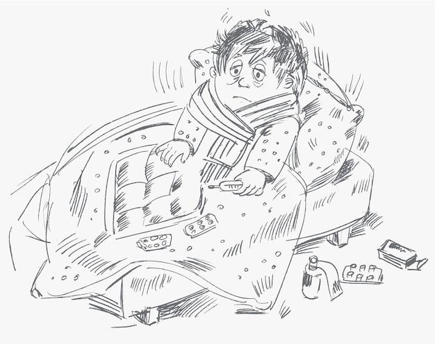 Chłopiec zachorował i leżał w łóżku, ilustracji wektorowych