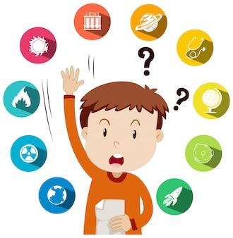 Chłopiec zadający pytania o pracę w szkole
