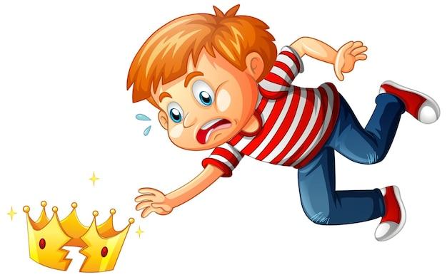 Chłopiec ze złamaną koroną na białym tle