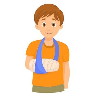 Chłopiec ze złamaną ręką w bandażach