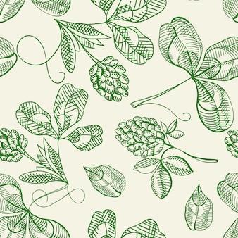 Chmiel wzór doodle z powtarzaniem pięknych jagód na białym rysunku dłoni