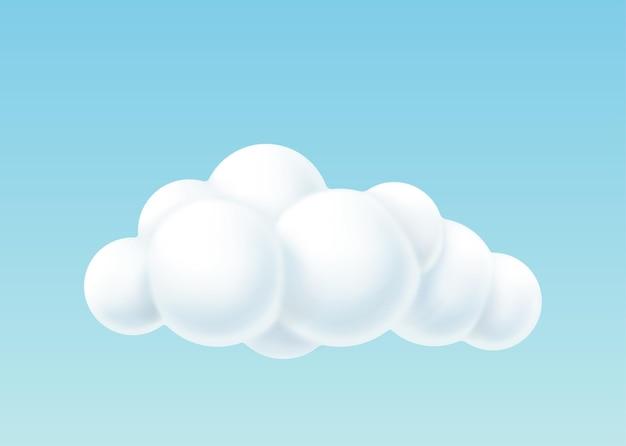 Chmura 3d z okrągłymi białymi bąbelkami. puszyste miękkie niebo cloudscape na białym tle. realistyczne niebo dekoracyjne. ilustracja wektorowa