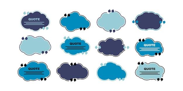 Chmura cytuje ikony zestaw ilustracji