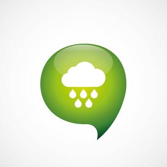 Chmura deszcz ikona zielona myśl logo symbol bańki, izolowana na białym tle