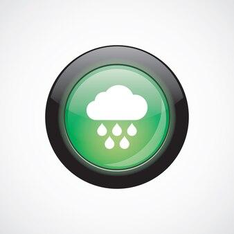 Chmura deszcz znak ikona zielony przycisk błyszczący. przycisk strony interfejsu użytkownika