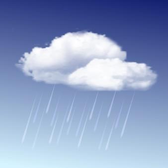 Chmura deszczowa ikona pogody z kroplami deszczu na niebieskim niebie