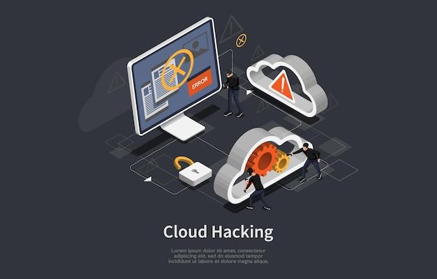 Chmura hacking sztuka konceptualna w ciemności. ilustracja w stylu cartoon 3d