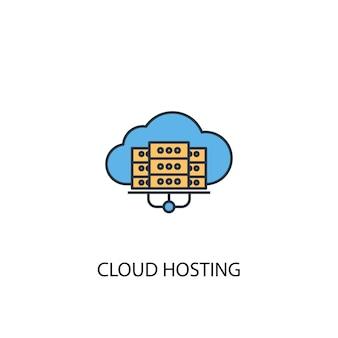 Chmura hosting koncepcja 2 kolorowa ikona linii. prosta ilustracja elementu żółty i niebieski. koncepcja hostingu w chmurze zarys symbolu projektu