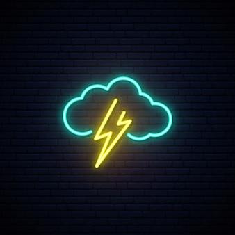 Chmura i błyskawica neon znak.