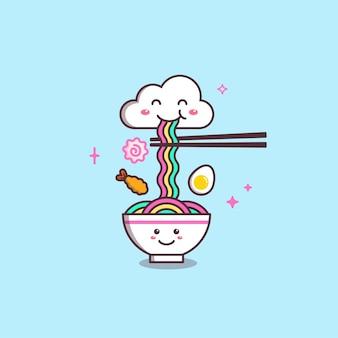 Chmura i tęcza miska ramen doodle rysunek ilustracja
