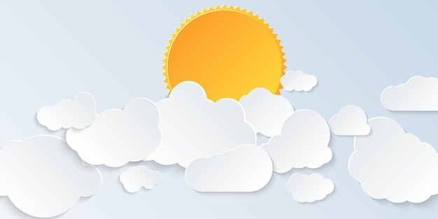 Chmura. jasne niebo z chmurami i słońcem w stylu papierowej sztuki. ilustracja.