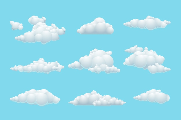 Chmura kreskówka wektor zestaw. biały element pogody, błękitne niebo