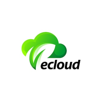 Chmura liść zielony natura projektowanie logo gradientu