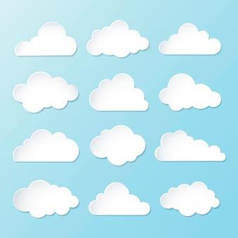 Chmura naklejki clipart wektor zestaw, projektowanie 3d