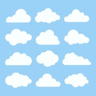 Chmura naklejki wektor zestaw clipart, płaska konstrukcja