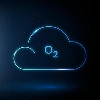 Chmura o2 ikona wektor symbol tlenu dla zanieczyszczenia powietrza