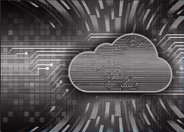 Chmura obliczeniowa obwód przyszłości koncepcja technologii tło hud