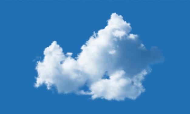 Chmura odizolowywająca nad niebieskiego nieba tłem. realistyczny