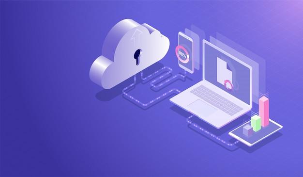 Chmura przechowywania danych centrum i koncepcja cloud computing