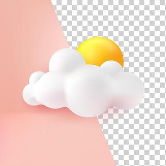 Chmura słońca 3d ikona realistyczny styl kreskówka na przezroczystym tle
