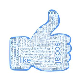 Chmura tagów społecznościowych w podniesionym kciuku