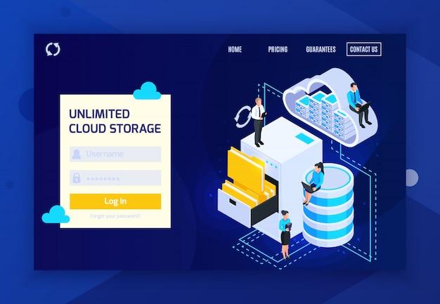 Chmura usług lądowania strony izometryczny strona internetowa z loginu, klikalne linki i koncepcyjne obrazy ilustracji wektorowych