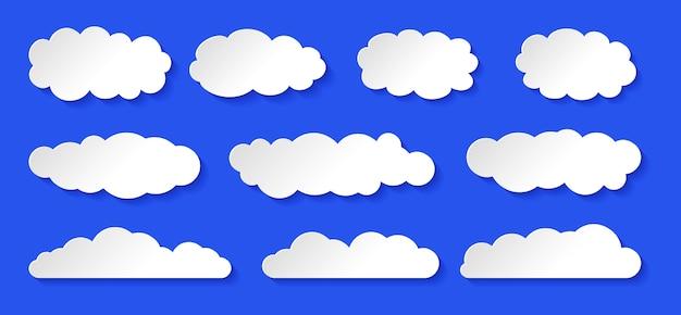 Chmura ustawić białe chmury cumulusów