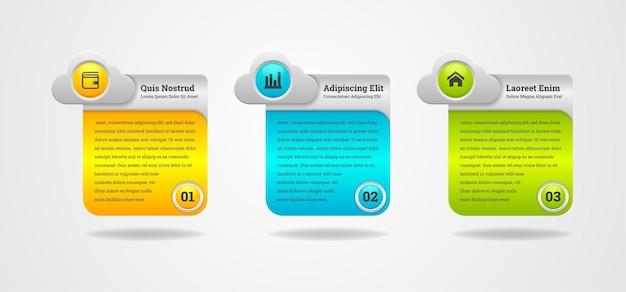 Chmura w połączeniu z prostokątem do infografik biznesowych