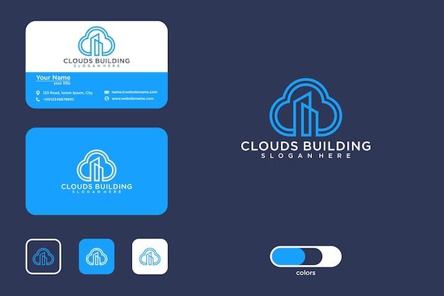 Chmura z projektowaniem logo linii budynku i wizytówką