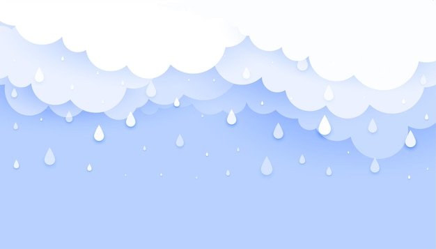 Chmura z spadającymi kroplami deszczu w stylu papercur w tle