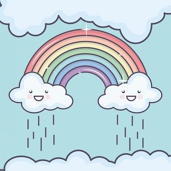 Chmurnieje niebo z tęczową pogodą kawaii charaktery