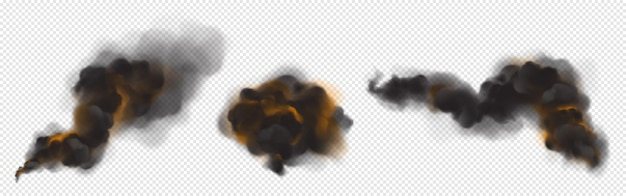 Chmury czarnego dymu z pomarańczowym podświetleniem od ognia.
