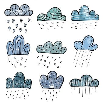 Chmury doodle zestaw w stylu wyciągnąć rękę
