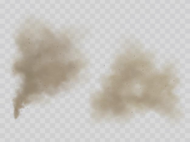 Chmury dymu lub pyłu na białym tle realistyczne wektor
