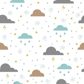 Chmury i deszcz wzór