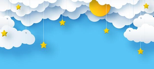 Chmury i gwiazdy słońce na niebieskim tle ilustracja nieba dla dzieci