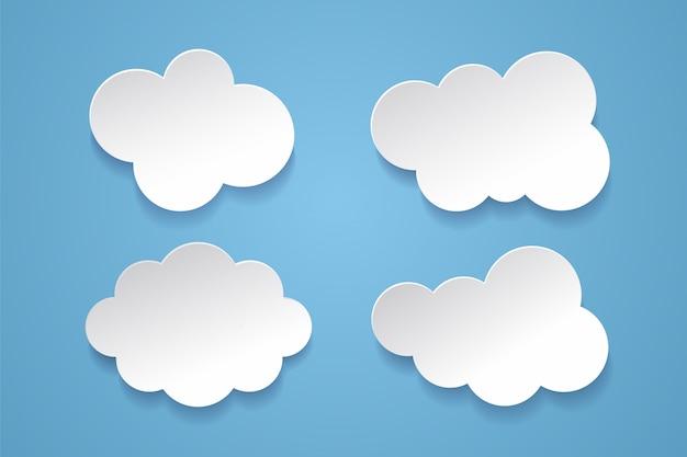 Chmury lub bąbelki w stylu papieru na niebieskim tle.
