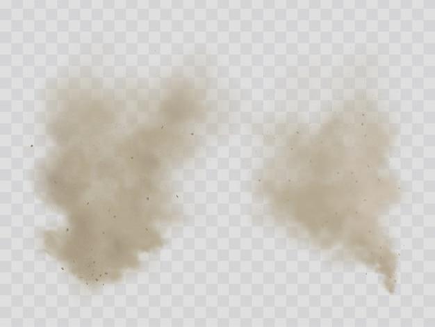 Chmury pyłu, dym na białym tle realistyczne wektory