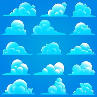 Chmury ustawione na białym tle na niebieskim tle