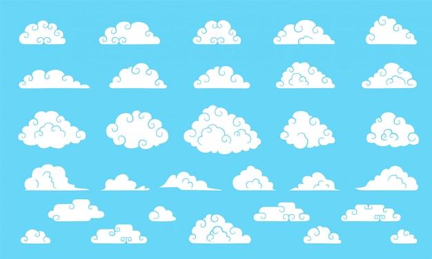 Chmury w stylu chińskim. duża kolekcja uroczych chmur