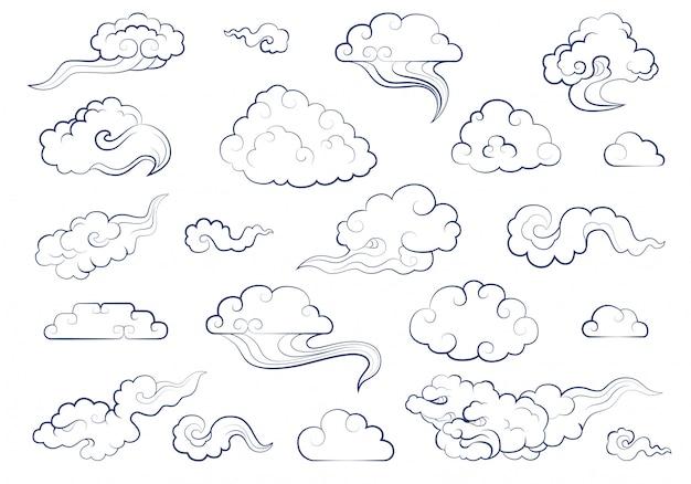 Chmury w tradycyjnym chińskim stylu. duży zestaw elementów pogody chmury, mgła, chmurka, wiatr
