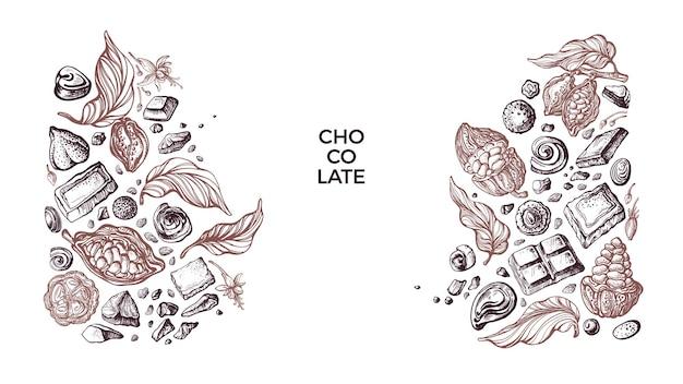 Choco border graficzne ziarna kakaowe cukierki słodkie