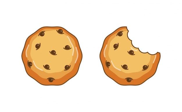 Chocolate chip cookie vector illustration, widok z góry