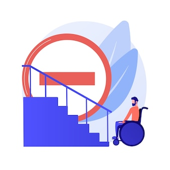 Chodnik dla osób niepełnosprawnych. brak warunków dla osób niepełnosprawnych. niepełnosprawna kobieta na wózku inwalidzkim. środowisko bez barier, dostępność. ilustracja wektorowa na białym tle koncepcja metafora