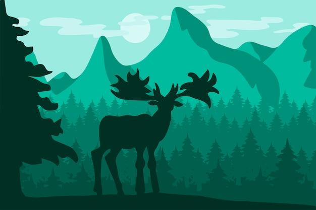 Chodzący dziki rogacz w noc halnym lesie