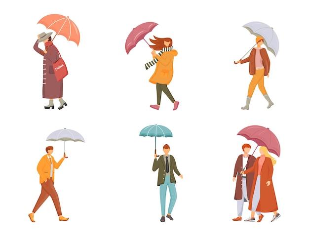 Chodzący ludzie z parasolami zestaw znaków bez twarzy w płaskim kolorze