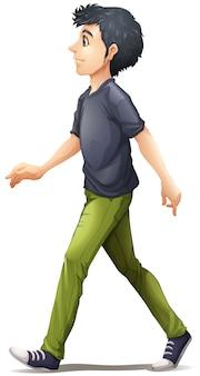 Chodzący mężczyzna w szarej koszuli