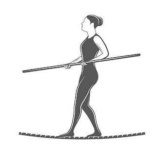 Chodzenie po drucie. element cyrkowy na białym tle. ilustracja do cyrku