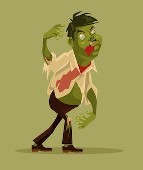 Chodzenie postaci człowieka zombie. koncepcja halloween. ilustracja kreskówka płaska