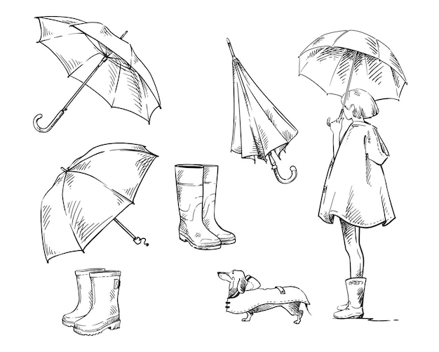 Chodzić w deszczu. zestaw ikon o deszczu i deszczowej pogodzie. dziewczyna z parasolem wyprowadza psa w płaszczu przeciwdeszczowym